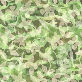 カーキ色の花のカモフラージュ抽象的な背景。抽象的なカラフルなスポット、花、蝶とのシームレスな森林パターン。カーキ、ブラウン、ベージュ、グリーンの色。