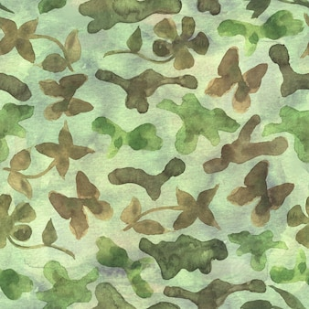 Khaki fashion floral camouflage abstract background. seamless woodland pattern with abstract colorful spots, flowers and butterflies. khaki, brown, beige and green color.