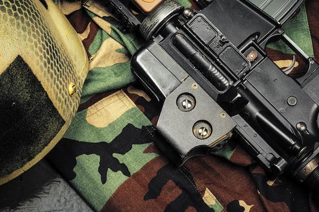 Khaki military uniform with ammunition , military concept