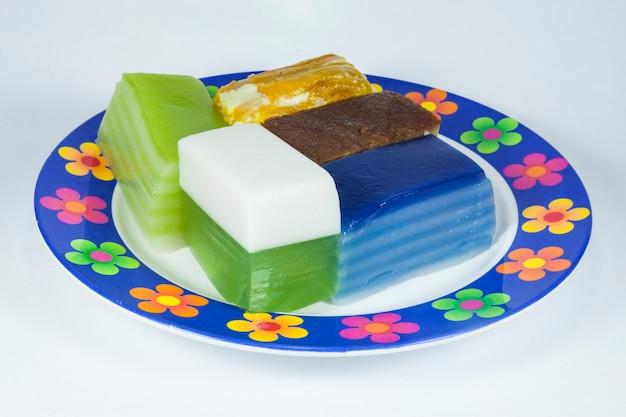Khanom chan or thai desserts bright colors