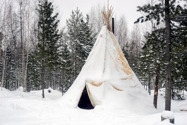 Хантыйский национальный шатер в зимнем лесу среди кедров.