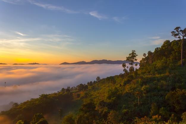 Красивый восход солнца и туман на khao kho, провинции phetchabun, таиланде.