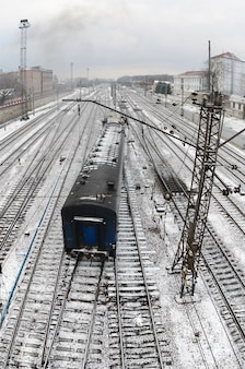 Kharkiv landscape with railroad tracks near the south railway station
