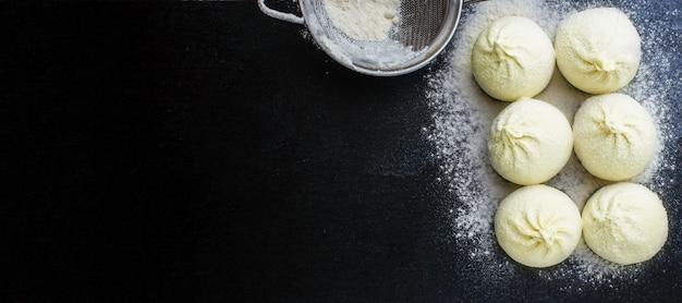 Khinkali or dumplings with filling