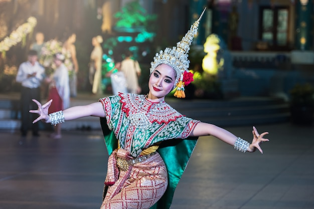 Khon is traditional dance drama art of thai classical masked