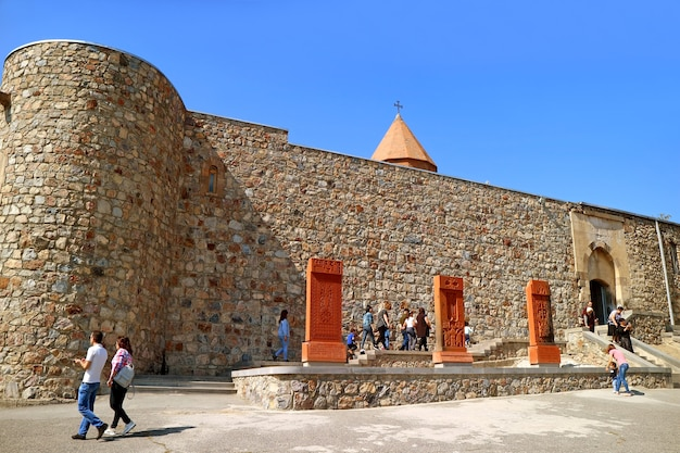 Khor virap monastery complex with beautiful crossstones or khachkar ararat province armenia