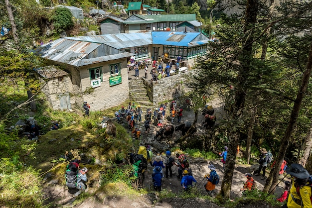 トレッカーはkhumbu地区のmt.everestベースキャンプ、nepalnamche bazar、namche