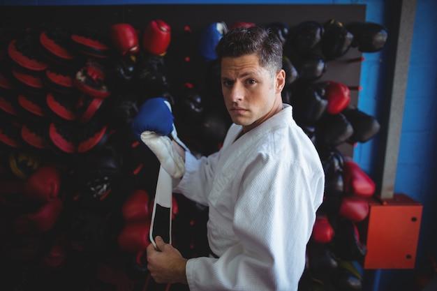 Kick boxer wearing gloves