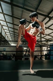 링의 kickboxer는 싸움이 무릎으로 스윙 동작을하기 전에 스트레칭을합니다.