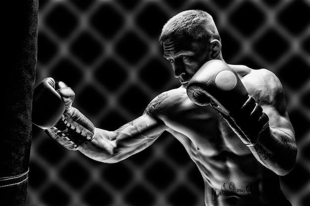 キックボクサーはバッグをパンチします。プロスポーツ選手のトレーニング。総合格闘技、レスリング、ムエタイのコンセプト。ミクストメディア