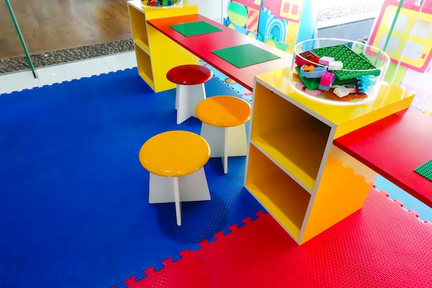 Kid children room. for learn and play fun game in kindergarten.
