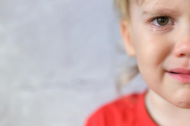 泣いている子供。涙でかわいい動揺して4歳の男の子の顔。子供の悲しみ。灰色のコンクリートの壁の背景。テキストのためのスペース