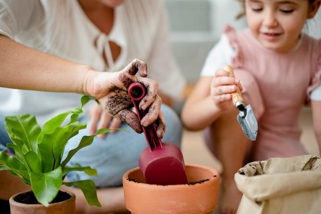 엄마와 집에서 아이 diy 식물 화분