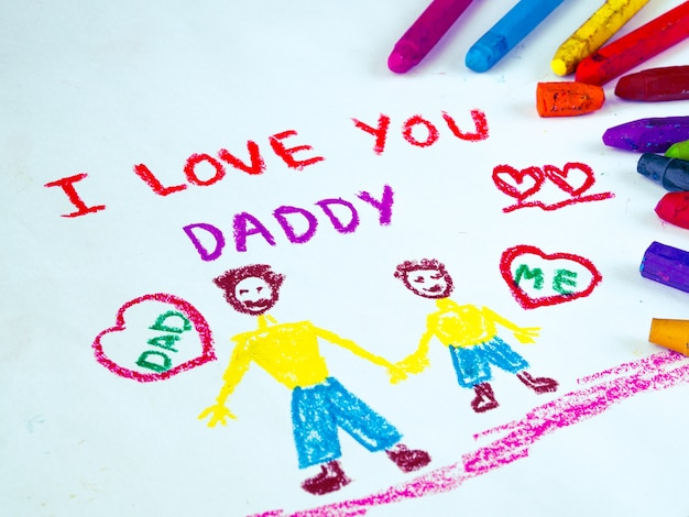 Kid drawing of father holding his child for happy father's day theme