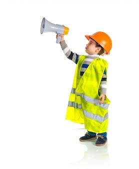 Kid dressed like workman shouting by megaphone