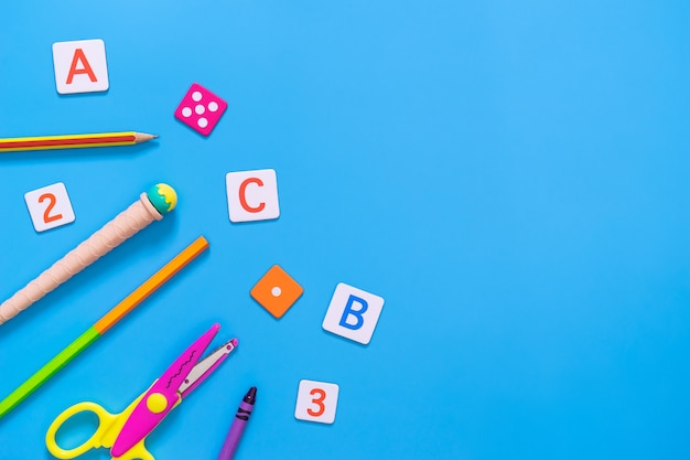 Kid educational toy and stationary for kid education concept