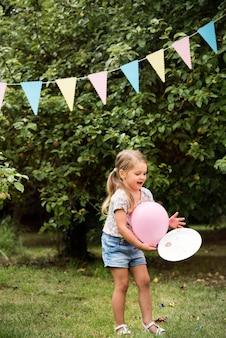 Kid enjoy party in the backyard