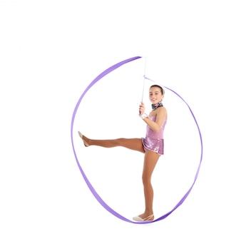Kid girl ribbon rhythmic gymnastics exercise