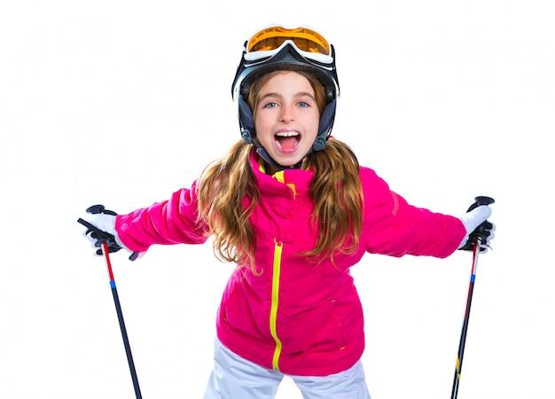 スキーポールヘルメットとゴーグルを白で笑顔の子供女の子
