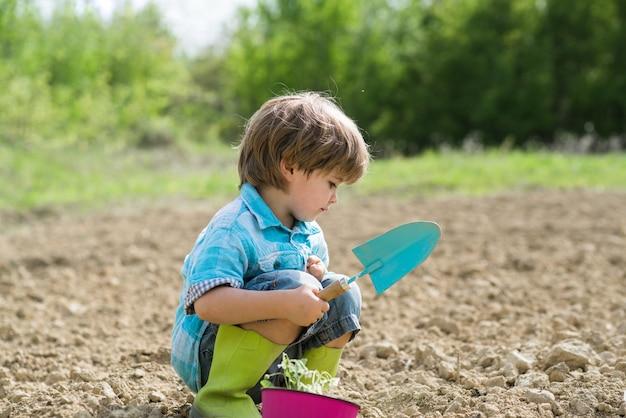 도시 공동 정원에서 사탕무를 수확하는 아이 평온한 어린 시절 봄 정원에서 산책하는 사랑스러운 아이 ...