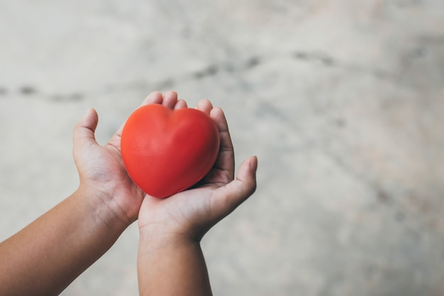 Kid holding red heart in hands
