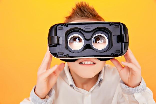 Kid looking through vr glasses