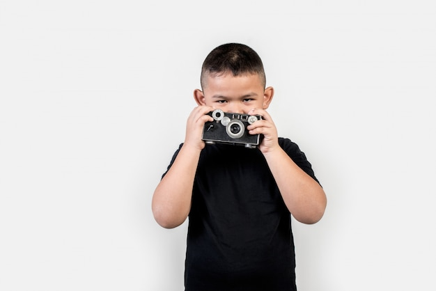 Kid photographer take a photo