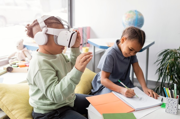 Kid playing with vr glasses