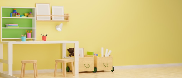 Kid room interior design with study table stationery shelf and playthings in the room with yellow pastel wall 3d rendering