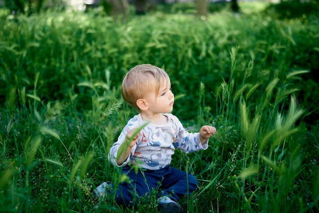 Kid sits on the lawn among the green spikelets