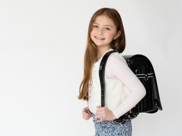 흰색 바탕에 캐주얼 사랑 스러운 입고 아이 스튜디오 촬영