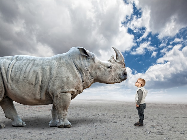 Kid vs rhino