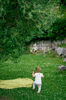 子供は花の牧草地を通り抜けて毛布の背面図に歩きます
