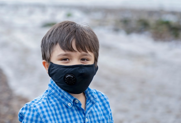 Kid wearing protective face mask
