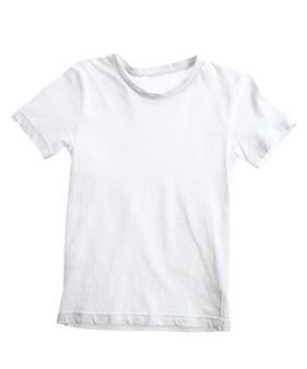 흰색 표면에 고립 된 아이 흰색 티셔츠