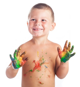 Kid with painted hand