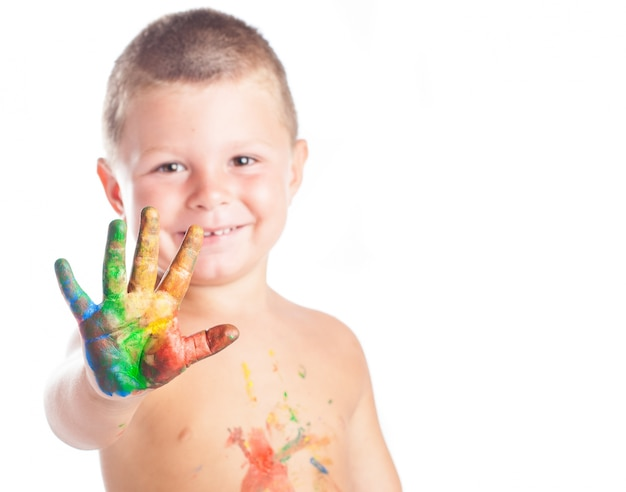 Kid con dipinti a mano