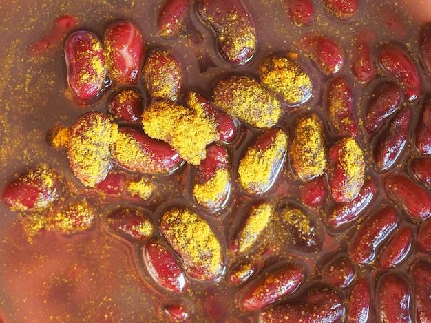 강낭콩 카레 콩과 식물 야채 음식
