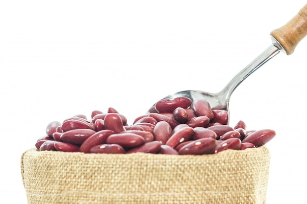 Kidney  beans in wood cup isolated