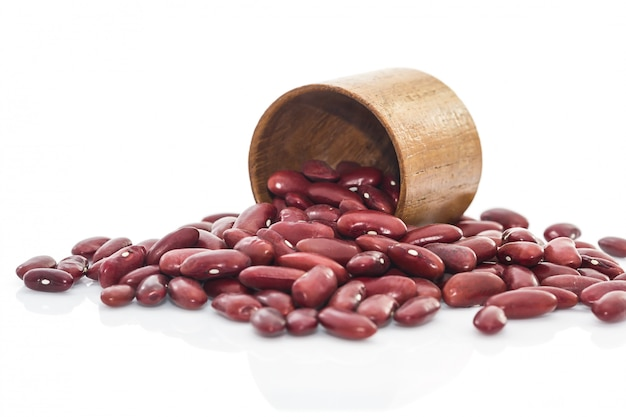 Kidney  beans in wood cup on white background