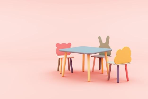 ピンクの3 dレンダリングの子供動物フォーム椅子