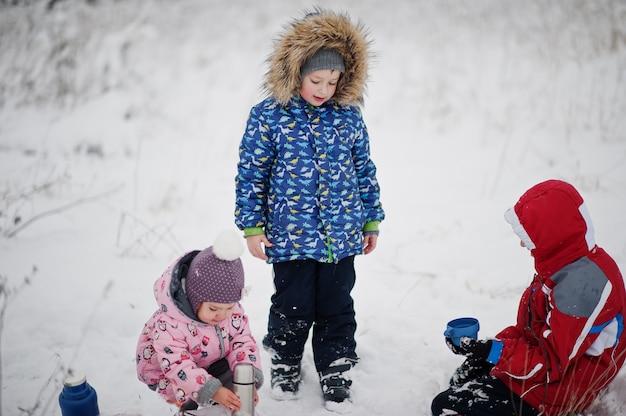 冬の日の子供たちは熱いお茶を飲みます。