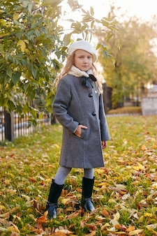 Kids baby in retro autumn spring clothes