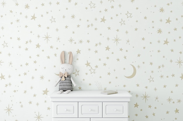Kids background with wallpaper golden stars