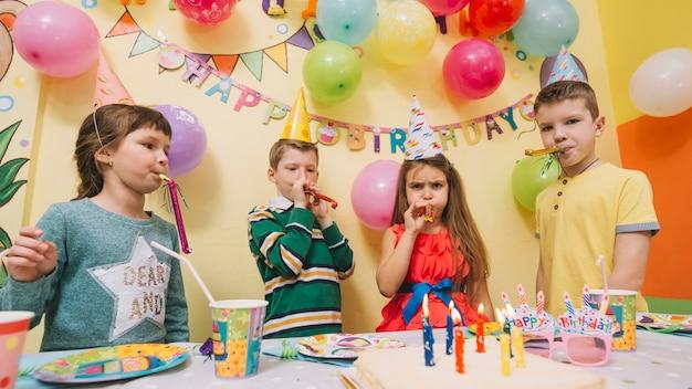 Kids celebrating birthday and having fun