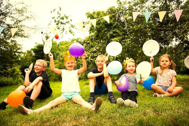 Kids celebrating at a birthday party