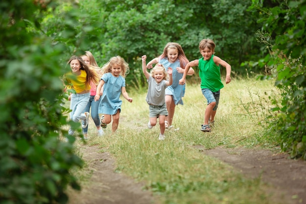 子供たち、緑の牧草地で走っている子供たち