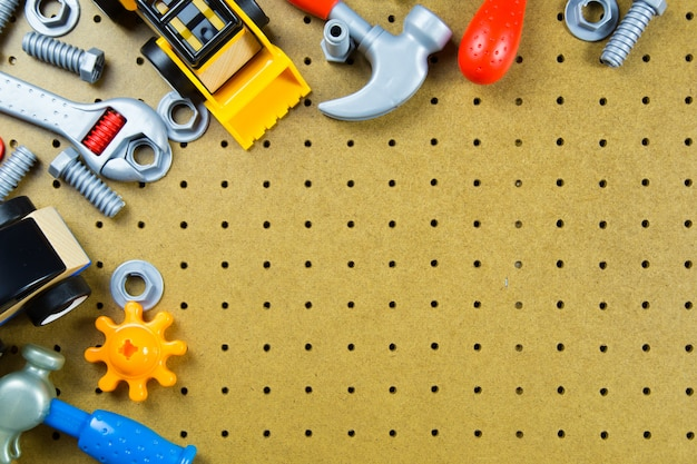Kids construction toys tools, kids toys frame background.