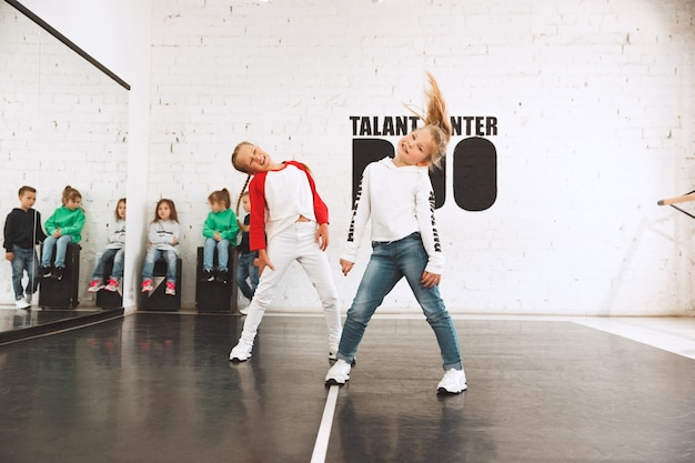 The kids at dance school. ballet, hiphop, street, funky and modern dancers