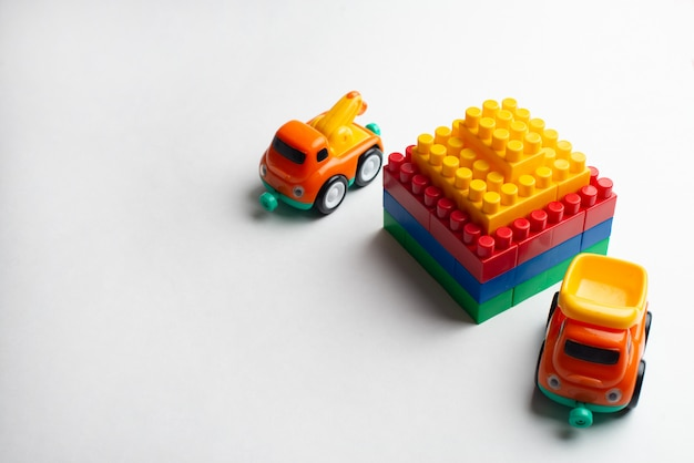 Kids development, building blocks, building construction and lorry
